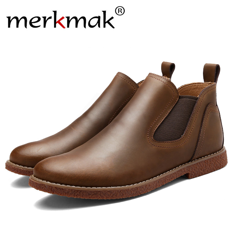 Mermak Men rubber rain boots fashion chelsea botas hombre casual slip-on waterproof ankle boots moccasins zapatos masculino