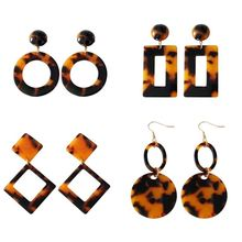 Kshmir Earrings temperament personality exaggerated  brown acetate geometric fashion ladies exquisite earrings 888