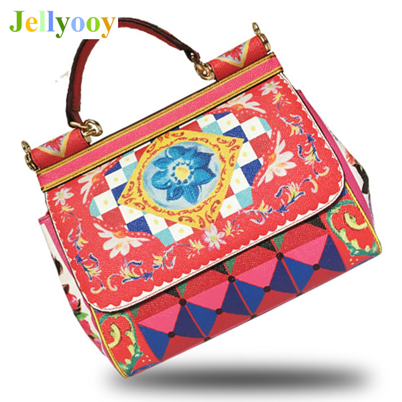 Original Quality Luxury Italy Brand Sicily Ethnic Floral Bag Genuine Leather Casual Tote Platinum Bag Lady ShoulderMessenger Bag luxury italy brand sicily ethnic bag genuine leather women casual tote platinum bags star moon print lady shoulder messenger bag