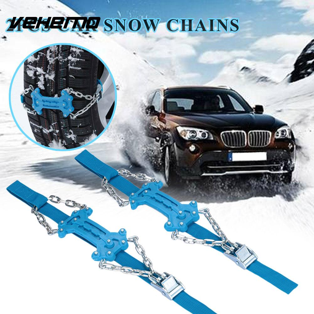 Vehemo Snow Chain Snow Tire Belt Anti-Skid Chains 2pcs Plastic Durable Truck SUV Roadway Safety Mud Wheel Climbing Mud Ground