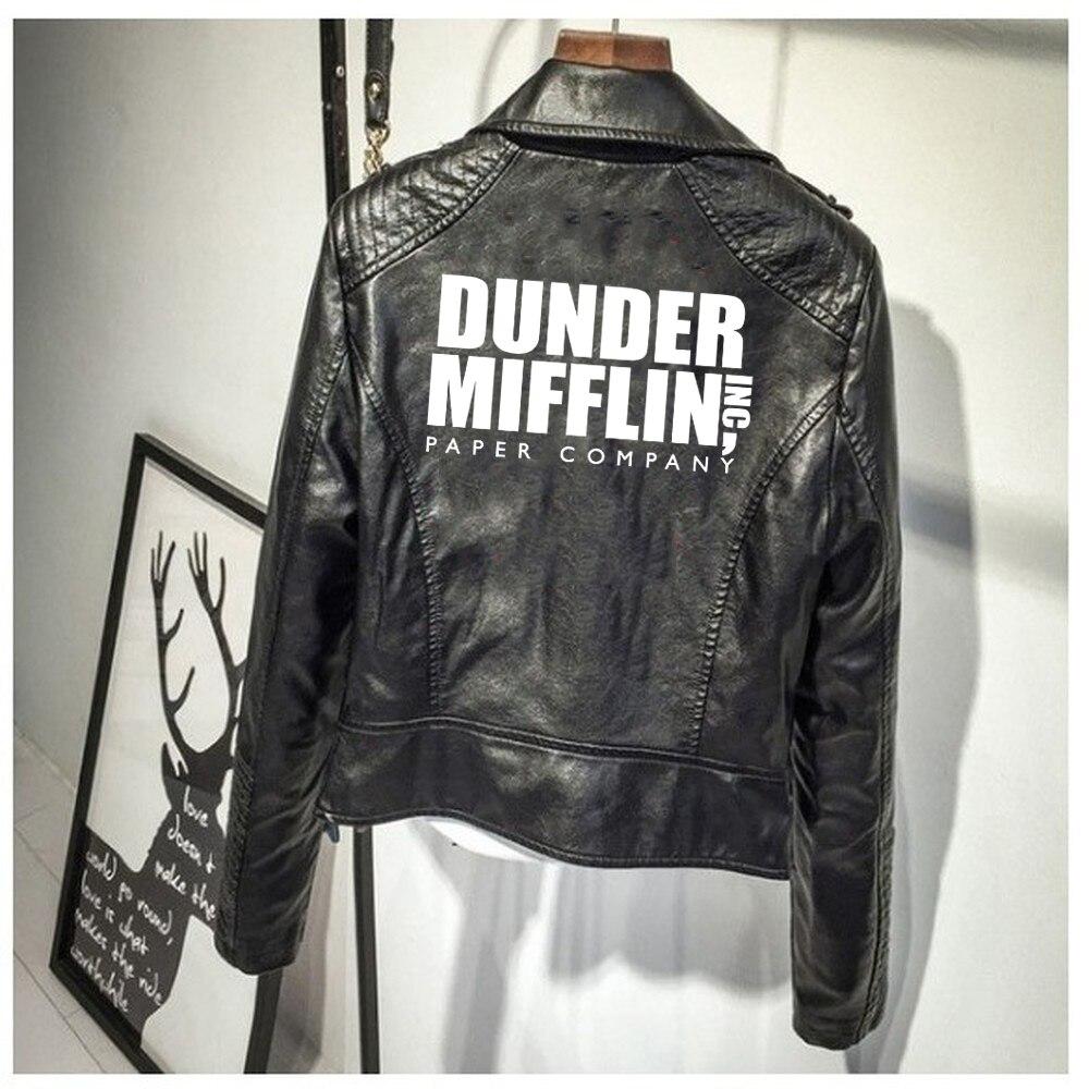 Dunder Mifflin imprimer PU veste en cuir compagnie de papier Dunder Mifflin femmes veste en cuir