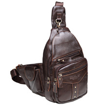 Men Leather Cowhide Sling Chest Bag Travel Riding Hiking Stu