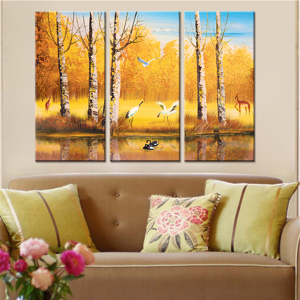 No Frame Drop Shipping 3 Pieces Autumn Cranes Landscape Posters and ...
