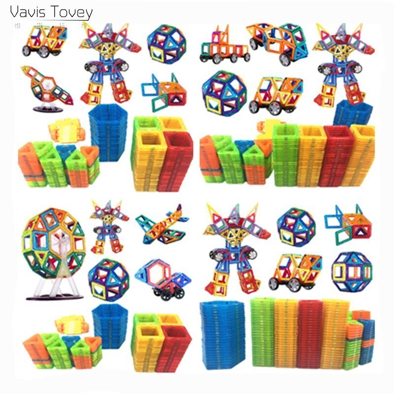 Vavis Tovey 153PCS Magnetic Building Blocks Mini free sticker Magnet Designer Construction sets Toys Kids brithday gifts