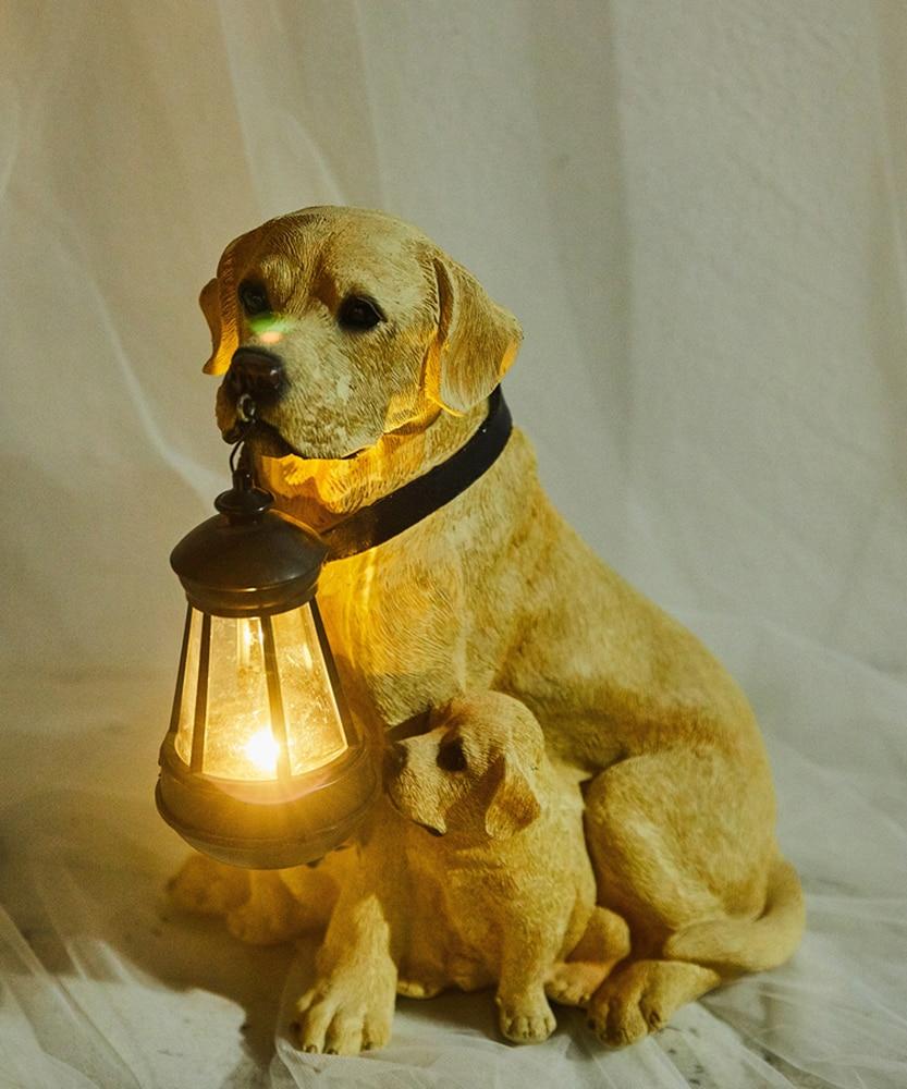 Estátua Animal jardim Quintal Cão Golden Retriever Rottweiler Cão escultura Mobiliário Home Decor Amarelo Com UMA Lâmpada de Lanterna Solar - 2