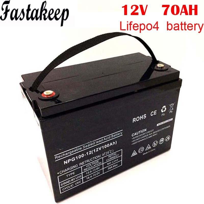 Batterie au lithium 12v 70ah lifepo4 à cycle profond pour vr/système solaire