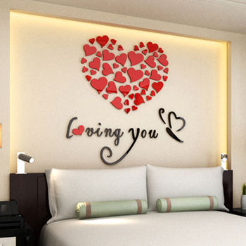 Modern DIY Acrylic Wall Stickers 3D Mirror Love Heart Home Decor Quote Flower Crystal Wall Stickers Decal Home Art Decor 7