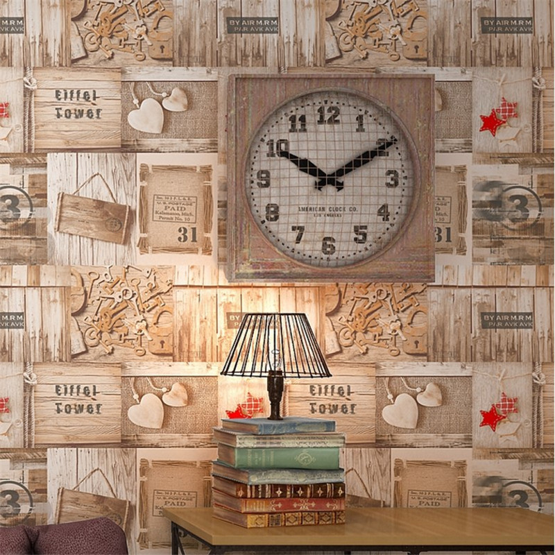beibehang American personality retro Mediterranean cafe living room wallpaper imitation wood grain wood studio wallpaper new junran america style vintage nostalgic wood grain photo pictures wallpaper in special words digit wallpaper for living room