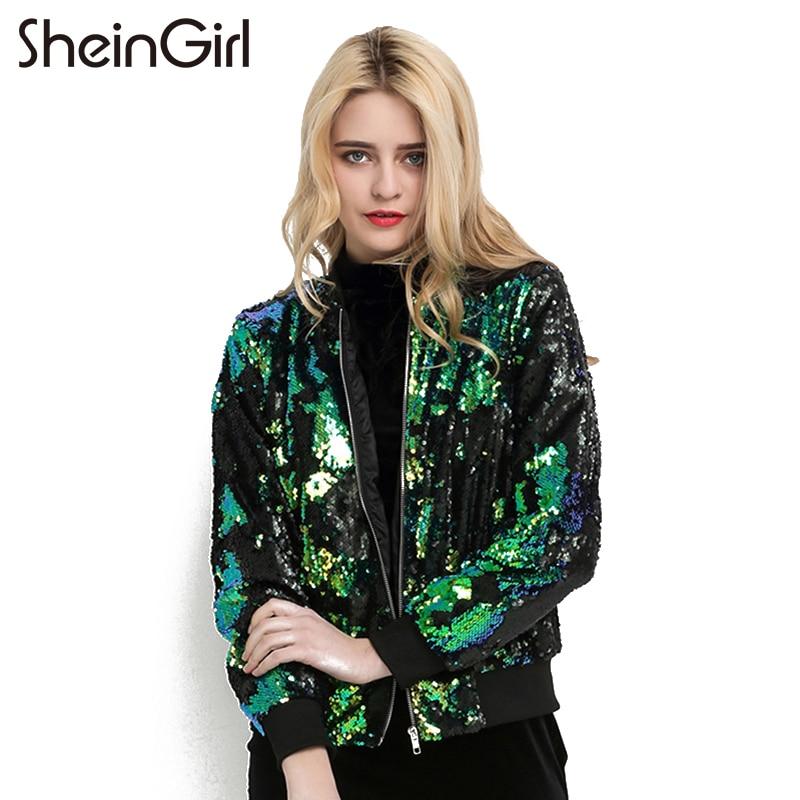 Sheingirl Autumn Sequin Coat Women Green Bomber Jacket Long Sleeve
