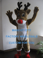 Hot kerst rudolph reindeer mascot kostuum volwassen grootte classic cartoon kostuums outfits fancy dress sw803