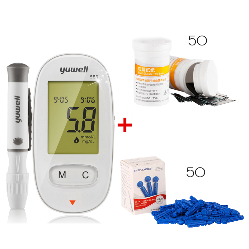 580 Blood Glucose Meters Diabetics Test glycuresis Monitor blood Glucometer medidor de glicose 50 Strips +50 Needles