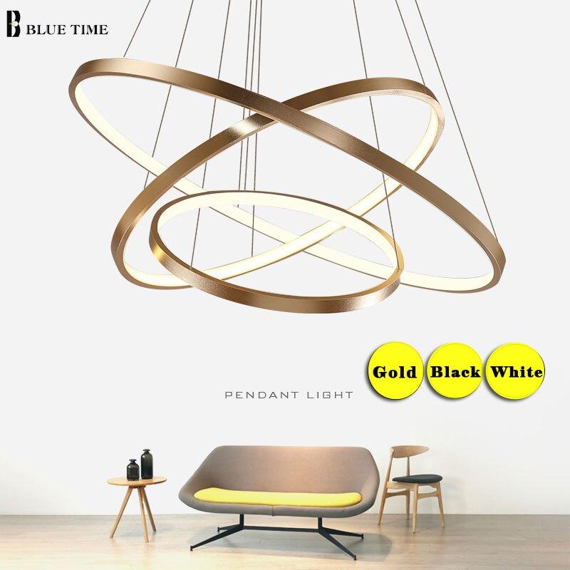 Or Argent Blanc Noir Moderne lustre Lumière Pour Salon Salle À Manger 4/3/2/1 Cercle anneaux LED Plafond Lampe Appareils