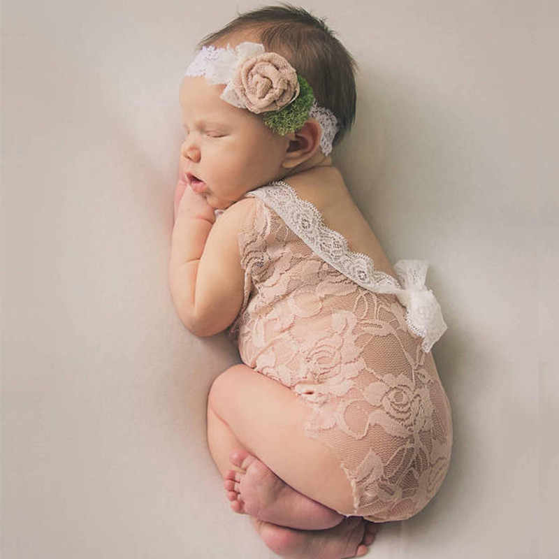 0ca2f3df6622 Newborn Photography Props Infant Costume Cute Princess jumpsuit toddler girl  clothing Handmade Baby Girl lace Romper