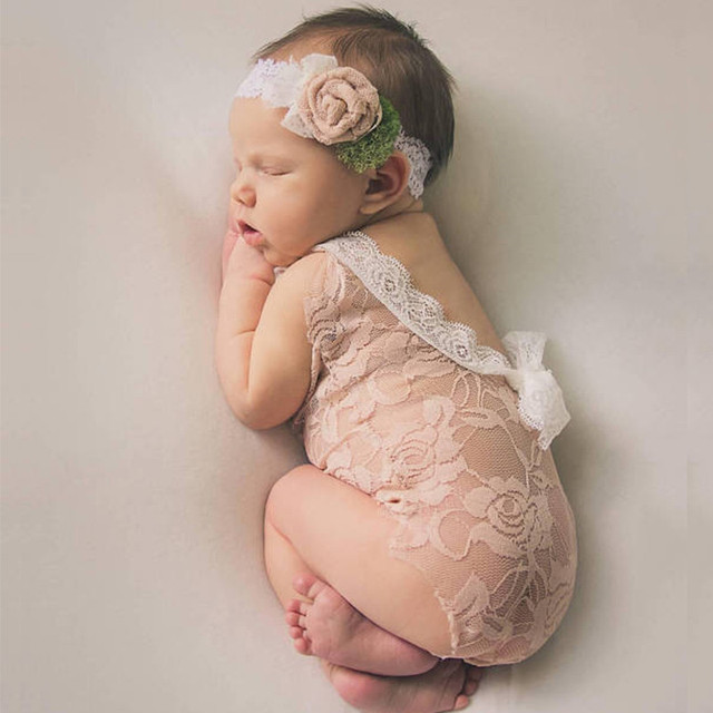70d8f9390 Newborn Photography Props Infant Costume Cute Princess jumpsuit toddler girl  clothing Handmade Baby Girl lace Romper