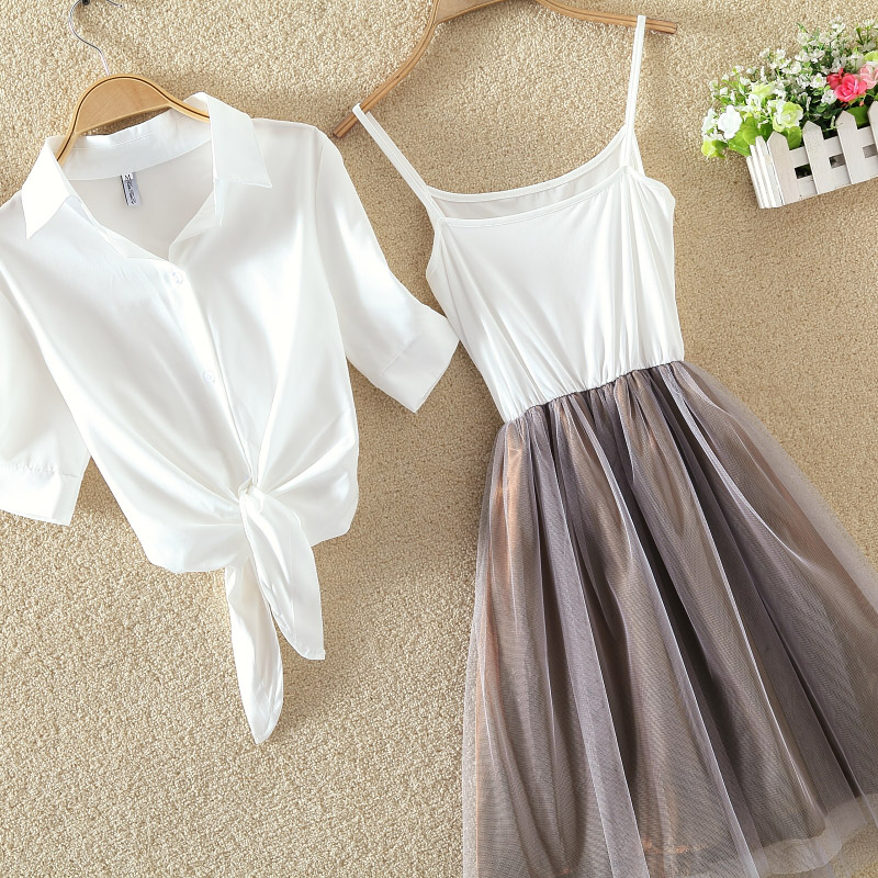 d346c06a6bcf Dropwow Women Suits Casual Clothing Sets Crop Top Fold Tulle Skirt ...