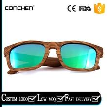 2017 fashional square zebra wood frames with green revo polarized lens wood sunglass