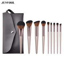 9pc Large Foundation Makeup Brushes Kit Soft Hair Blush Powder Make Up Brush with Cosmetic Bag Luxury Champagne Face Beauty Tool high quality multi functional powder blush brush goat hair makeup brushes super soft make up brush cosmetic tool