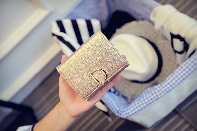 new fashion High Quality Short D Letter Women Wallets Brand Designer PU Leather female Wallets and