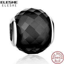 ELESHE 100% Original 925 Sterling Silver Charm Black Crystal Murano Glass Beads Fit Bracelet DIY Accessories Women Jewelry(China)