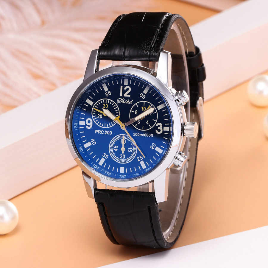 Blue-ray glas neutrale quartz simuleert pols epidermale Lederen Band horloge heren horloge Pols Party decoratie Business Horloge g