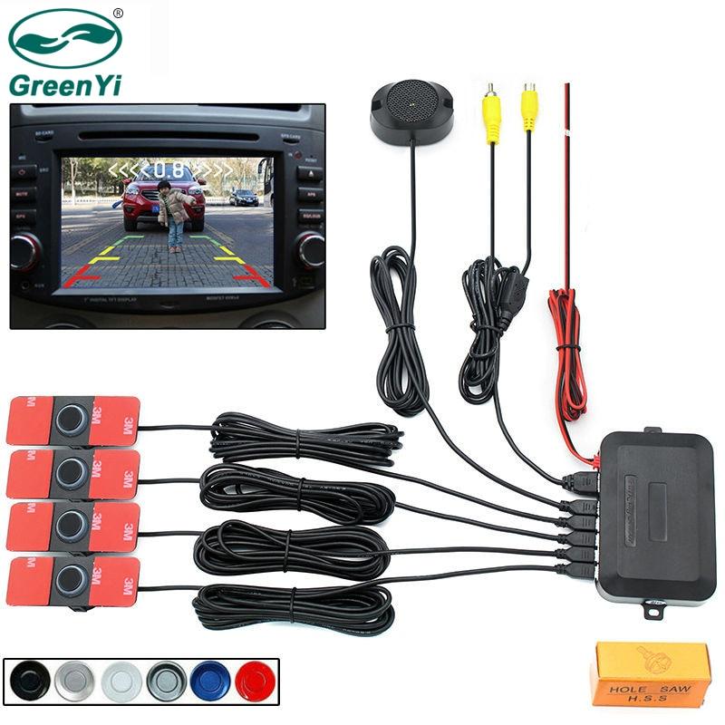 Eaglerich Car LED Parking Sensor Kit Display 4 Sensors 22mm 12V for all cars Reverse Assistance Backup Radar Monitor System 01-Sunshine Brown