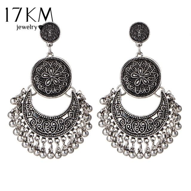 Vintage Big Flower Drop Earrings For Women 2018 Beads Tassel Peandant  Ethnic Jewelry Punk Beads Earring Party boucle d oreille 1a52f7d25b5c