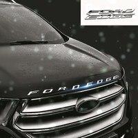Für FORD EDGE Metall Buchstaben Hood Emblem Solide Chrome Silber/Schwarz 3D Logo Abzeichen Aufkleber Für 2014 2015 2016 2017 Ford RAND