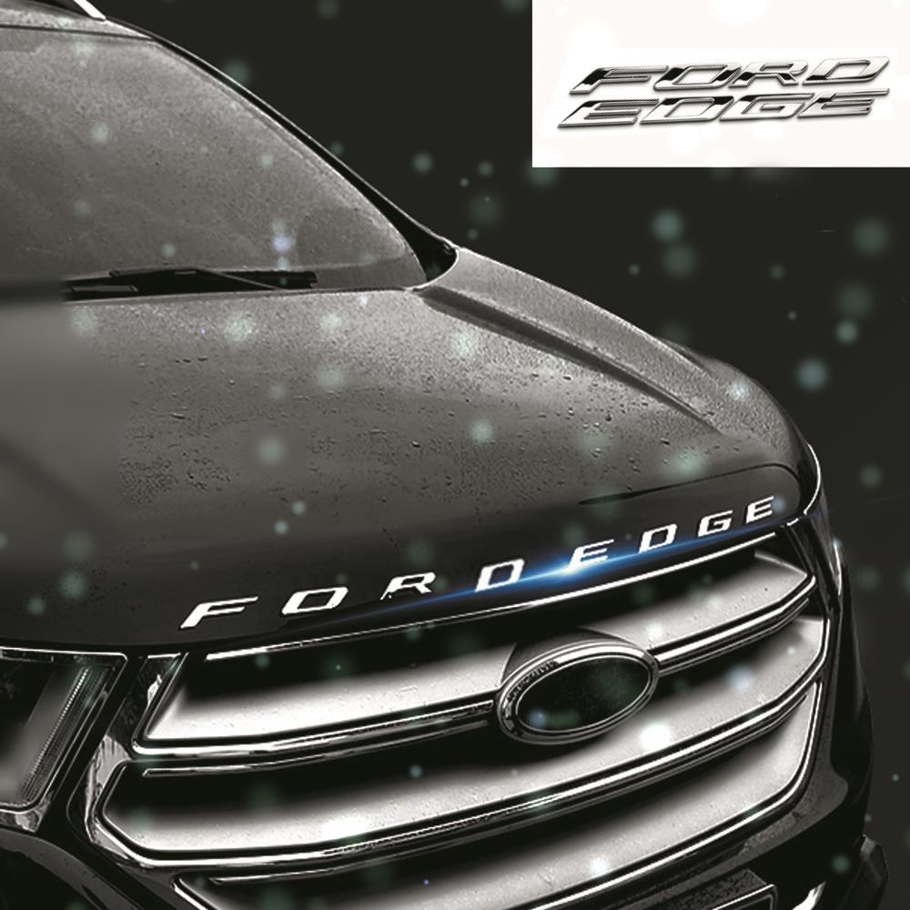For FORD EDGE Metal Letters Hood Emblem Solid Chrome Silver/Black 3D Logo Badge Sticker For 2014 2015 2016 2017 Ford EDGE diy 3d explorer fixed letters hood emblem chrome logo badge sticker for ford explorer sport car styling abs stickers