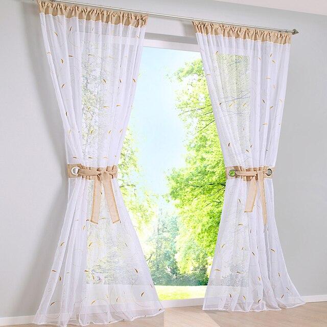 Moda moderna cortina bordada ventana cortinas para sala dormitorio