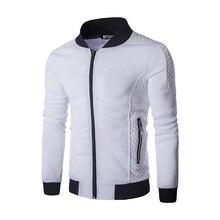 Mode der Neuen männer Jacke Gitter Baumwolle Hit Farbe Pullover Mantel Freizeit Reißverschluss Kragen Jersey Mantel Herren Baseball Jacke B3165