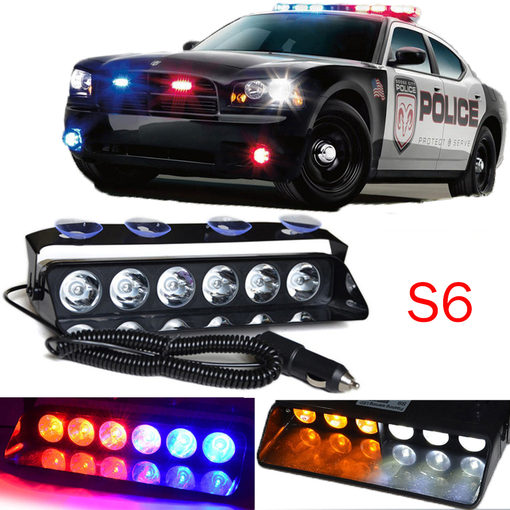 6 LED Windshield Warning Light Car Flashing Lightbar Viper Strobe Lights Truck Beacons Emergency Signal lamp Suction Cup DC 12V 12v car strobe lights 8 led auto warning light waterproof signal flashing emergency lamp for suv truck windshield flash light page 1