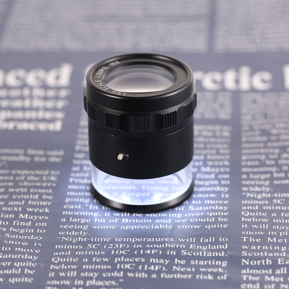 10X Multi-use glasses magnifier mini 8 LED Scale Loupe Portable 28mm Jeweler magnifying glass 10X Loupe+ Leather Case+ Gift Box