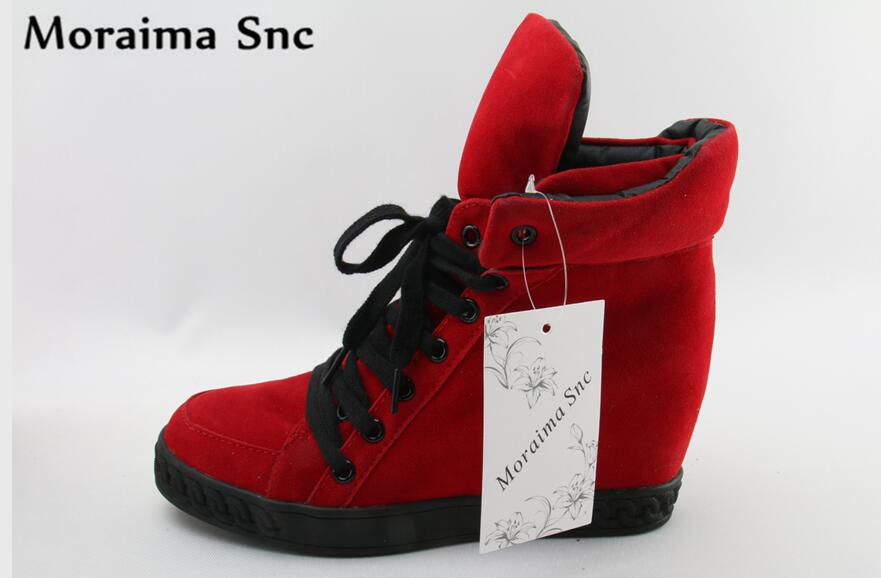 Moraima Snc newly Arrival women Boots pumps Rome Round toe lace-up concise type Height Increasing casual shoes red white moraima snc brand sneakers female summer black pink sexy cut out zapatillas mujer casual metal round toe height increasing shoes