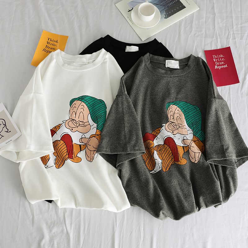 T     Shirt   Women 2019 Summer Tops 3D Cartoon Print   T  -  shirt   Femme Funny Short Sleeve Harajuku White black Tees Camisetas Mujer Femme