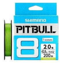 100% מקורי SHIMANO PITBULL X8 X12 קלועה דיג קו PE 150M 200M ירוק כחול תוצרת יפן 0.6 #0.8 #1.0 #1.2 #1.5 #2.0 #