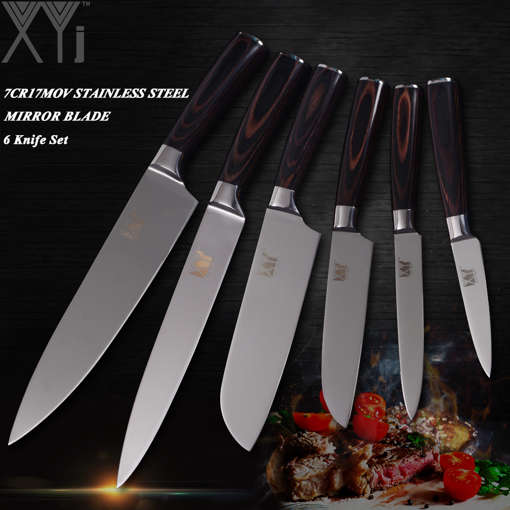 XYj 7Cr17 couteau de cuisine en acier inoxydable à haute teneur en carbone définit Double lame de tête en acier Pakka manche en bois couteau de cuisine Set ustensiles de cuisine-in Ensembles de couteaux from Maison & Animalerie    1