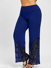 Plus Size Lace Trim Palazzo Pants Casual High Waist Wide Leg Long Pants