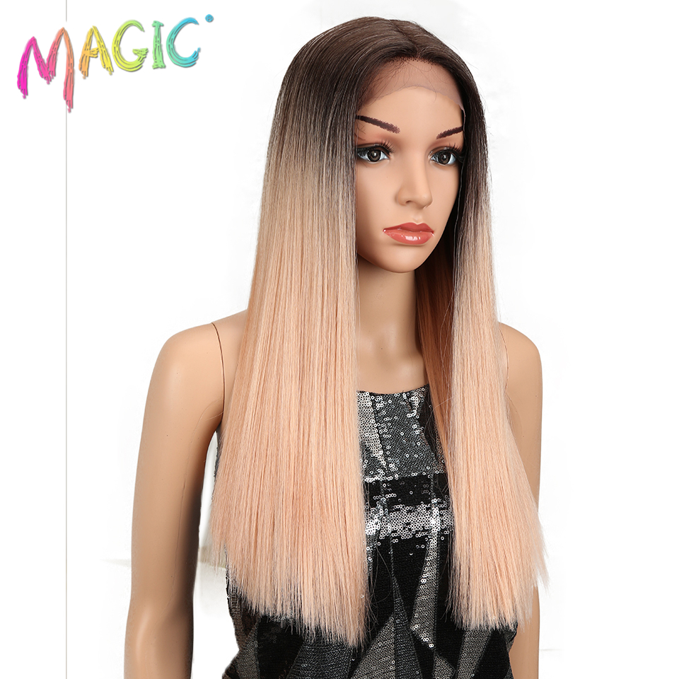 Magic Hair Straight Lace Front Wigs For Black Women 20 quot Inch Middle Part Synthetic Lace Wigs Omber Gold Green Cosplay Wigs in Synthetic Lace Wigs from Hair Extensions amp Wigs