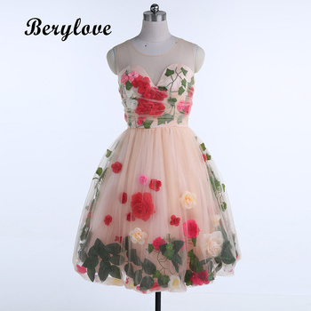 80a80279055 ... BeryLove Romantic Knee Length Flowers Homecoming Dresses 2018 Short  Homecoming Dress Cheap Graduation Dresses Prom Party