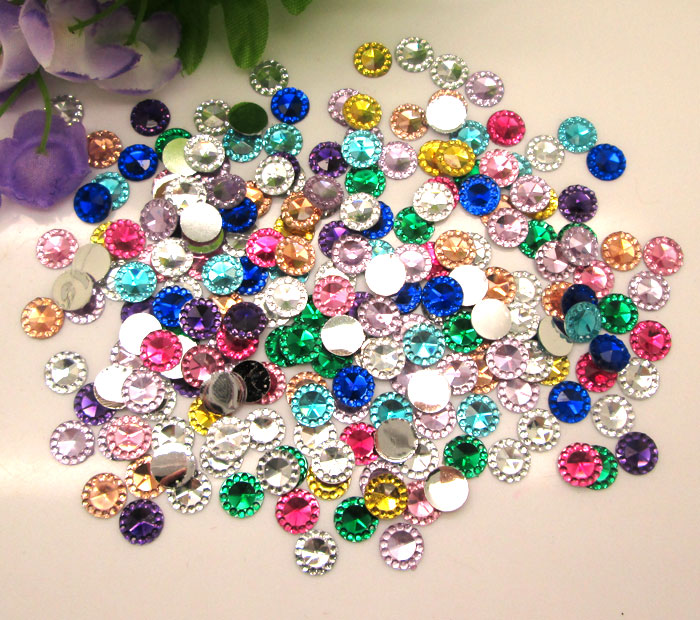 500Pcs Mixed Round Bling Resin Decoration Crafts Flatback Cabochon Scrapbooking Embellishments Beads Diy Accessories