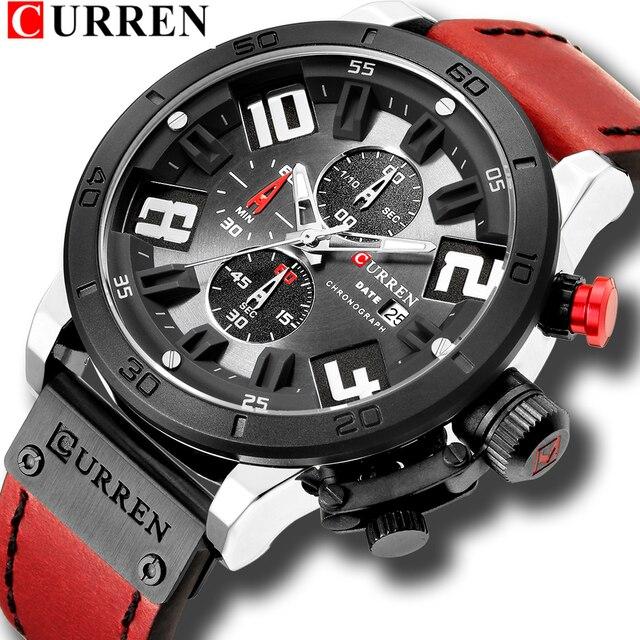 CURREN 8312 Fashion Casual Men Watch Top Brand Mens Leather Sports Quartz Wristwatches Waterproof Date Chronograph Male Clock