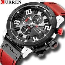 CURREN 8312 moda rahat erkekler İzle Top marka erkek deri spor kuvars saatı su geçirmez tarih Chronograph erkek saat