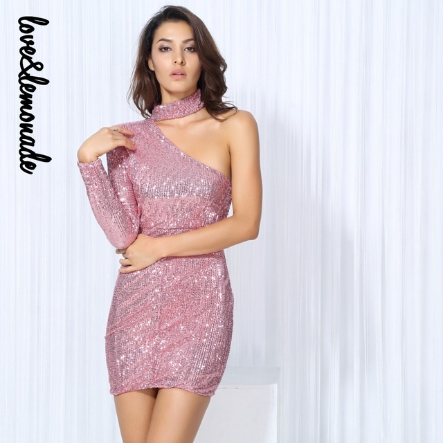 Love&Lemonade Sexy Pink Cut Out Shoulder Elastic Sequin Party Dress ...