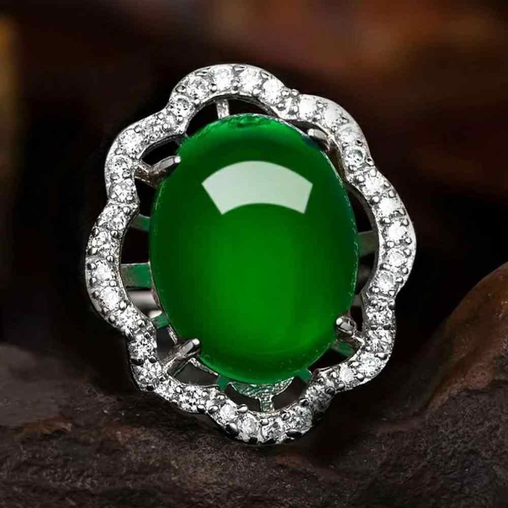 Bague Ringen สร้างแหวนมรกตสีเขียว Chalcedony อัญมณีแหวนหมั้นแหวนเงิน 925 อุปกรณ์เสริมผู้หญิงวันวาเลนไทน์