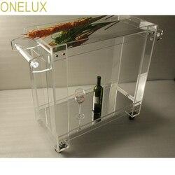 أونيلوكس مرآة الاكريليك لوسيت عالية الشفافية الغذاء عربة مشروبات ، ترولي تقديم الطعام على عجلات