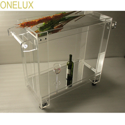 Onelux معكوسة الاكريليك وسيت الشفافية العالية شريط عربة الطعام ، خدمة عربة على عجلات