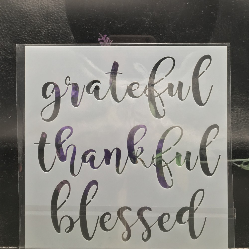 15cm Grateful Words DIY Layering Stencils Wall Painting Scrapbook Coloring Embossing Album Decorative Card Template