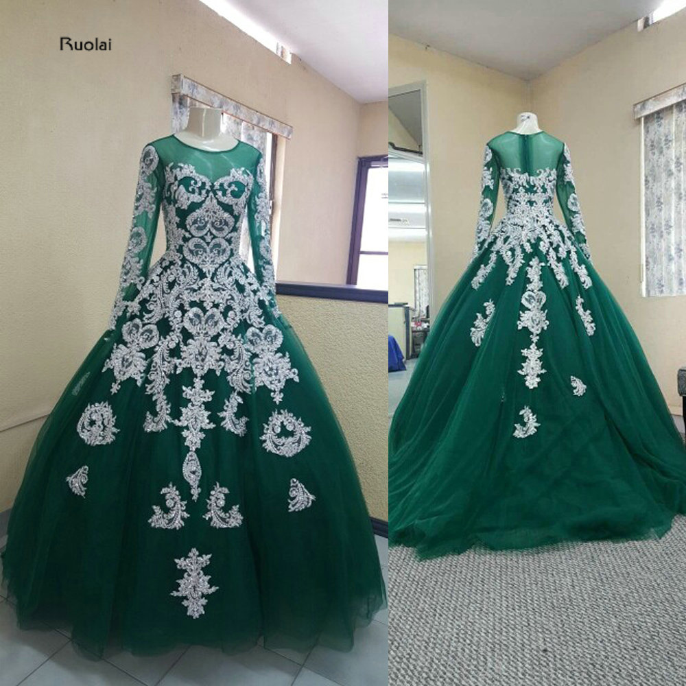 vestido de noiva Elegant Silver Lace Embroidery Ball Gown Evening Dresses 2018 Long Evening Gown Prom Dress Wedding Party Dress