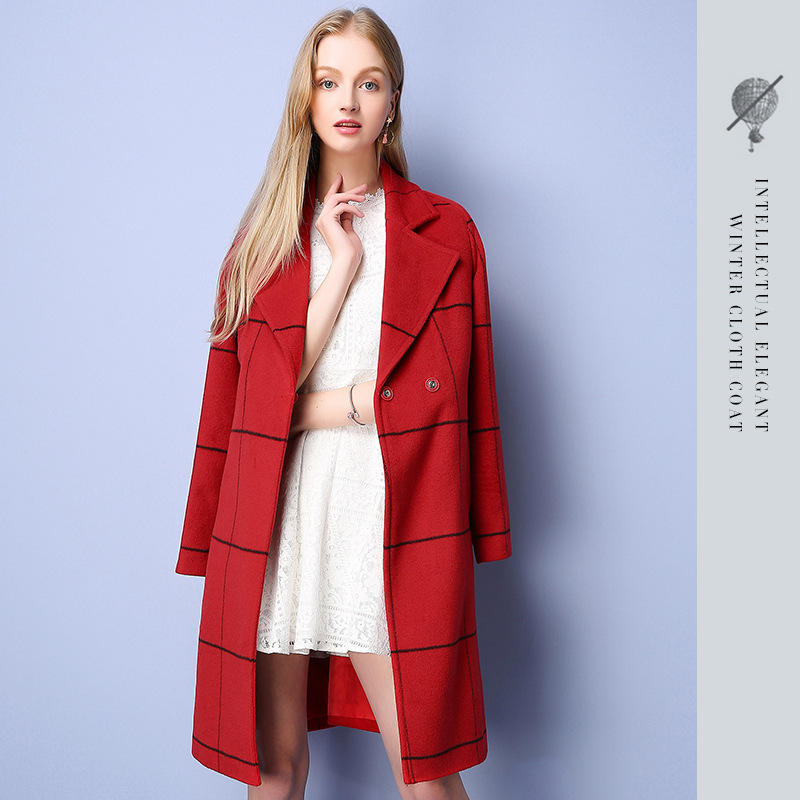 2016 Winter Brand New Women's Temperament Plaid Single Breasted Lapel Wide-waisted Sashes Ladies Long-section Woolen Coat