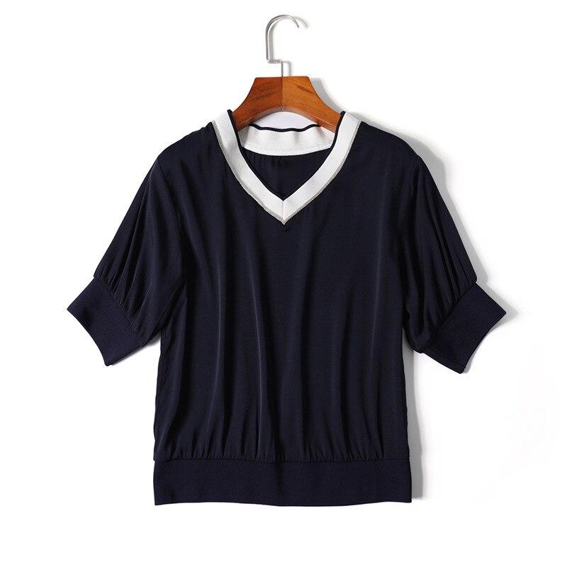 Nouveau style soie blouse satin 2019 printemps été v-cou demi manches décontracté hauts femmes filles mode noir blanc